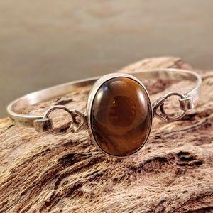 Jewelry - Tiger's Eye Cabochon Sterling Bangle Bracelet